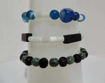 gorgeous gemstone and glass bead bracelet