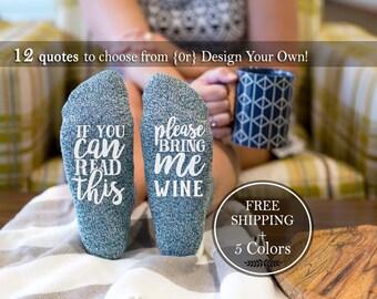 Wine socks, If You Can Read This Socks, Stocking stuffer for her, Wine Lover Birthday Gift for Her, Funny Socks, Beer Socks, Gag Gift