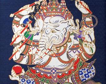 Thai Screen Print on Silk, Thai Ganesha Deity Buddha Elephant, Elephant Wall Decor, Thai Silk Screen Art Panel, DIY Silk Pillow  (TSP-204)