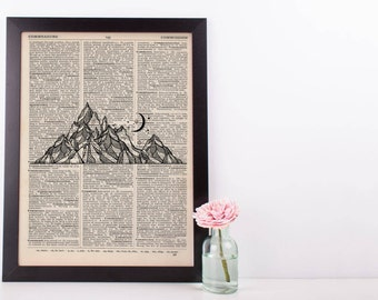 Mountain and Moon Dictionary Print