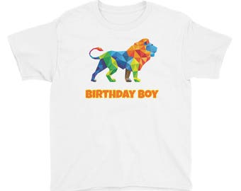 Birthday Boy Lion Birthday Party Theme Wild Animal Safari First Second Third Fourth Fifth Sixth Year Old Boys Kids Youth Short Sleeve T-Shir