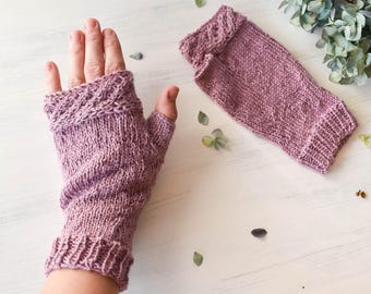 Pink Fingerless Mittens - Alpaca and Silk Gloves, Pink Mitts, Pink Gloves, Fingerless Gloves, Soft Mittens, Luxury Gloves