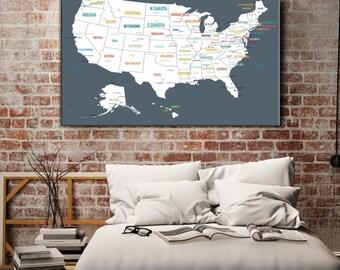 Custom Us Map Etsy - Personalized us travel map