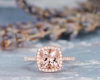 Morganite Engagement Ring Rose Gold Wedding Women Bridal Set Pink Birthday Diamond Cushion Cut Halo Anniversary Gifts For Her Graduation