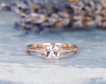 Morganite Ring Mini Engagement Ring Rose Gold Eternity Band Unique Wedding Ring Cushion Cut Bridal Anniversary Promise Women Gift for Her
