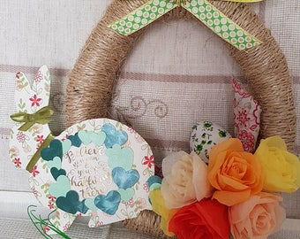 Rustic Easter Wreath/Easter Centerpiece with motivational message - Rustic Easter Decoration - Rustic Easter Decor - Spring Wreath - Easter