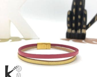 Bracelet leather pink and gold