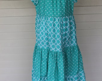Turquoise Floral and Polka-Dot Peasant Dress size 8