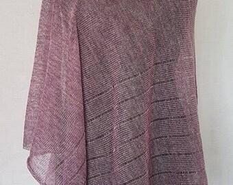 Light purple poncho, linen poncho, summer poncho, knit poncho, knit cape, linen cape, purple cape, linen shawl, purple shawl, linen shawl