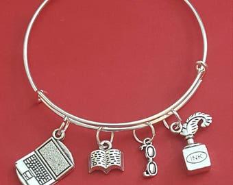 Author/Writer Themed Charm Bracelet