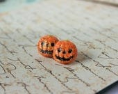 Orange Glitter, pumpkin earrings, Halloween Earrings, Pumpkin Studs, Halloween Gift, Pumpkin Gift, Glitter Gift, Pumpkin Accessory, Hallows