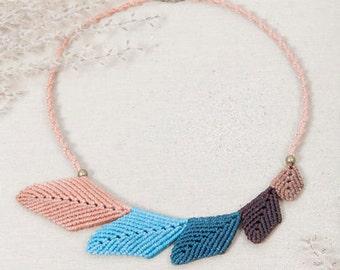 Macrame necklace, handmade jewelry, leaf necklace