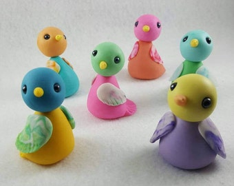 Spring Easter or mother's day fondant colorful bird cake, cupcake, cookie topper - small
