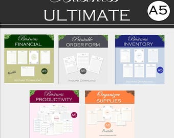 A5 printable small business planner, binder productivity, financial, inventory, order form, supply tracker, instant download a5 pdf inserts