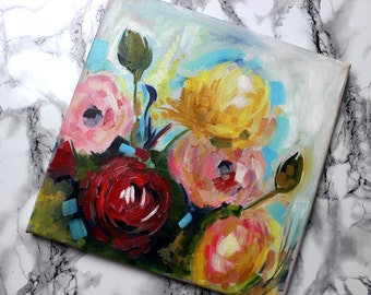 Oil Painting on Canvas - Colorful Flowers, Abstract Flowers, Girly Art, Dreamy Painting, Contemporary Art