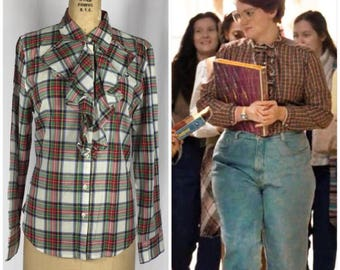 Barb STRANGER THINGS Plaid Ruffle Front Button Down Blouse Hipster Halloween Medium.