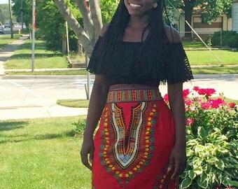Dashiki Red A-Line Skirt