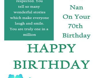 Great Nan 70 Birthday Card with removable laminate