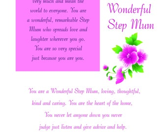 Step Mum Birthday Card with removable laminate