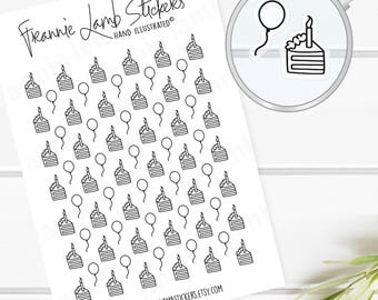 72 TINY CLEAR Birthday Cake & Balloon Stickers, Clear Matte Stickers, Planner Stickers, Transparent Stickers, Icon Stickers