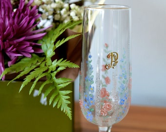 1950's Hand Painted Champagne Glass, Hand Painted Glass, Champagne Flute, Floral Drinkware, Vintage Glass, Gifts for Her, Wedding Gifts,
