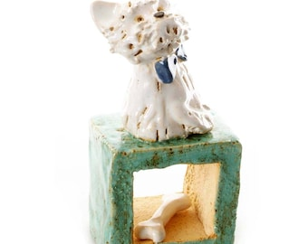 White Westie | Teal Cube | Quirky Gift