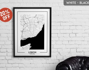 LISBON map print, Lisbon poster, Lisbon wall art, Lisbon city map, Lisbon map decor, Lisbon decoration, Lisbon print, Lisbon gift,Lisbon art