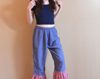 Culottes XS Periwinkle Pants Ruffle Hem Vintage Floral Fabric High Waisted Ankle Length Pants Womens