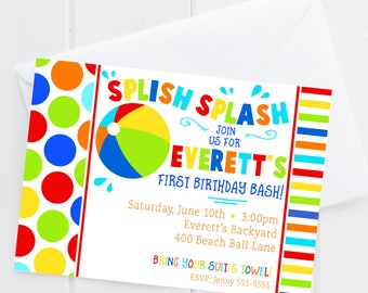 Beach Ball Birthday Invitation - Pool Party Birthday - Boy First Birthday Invite - Digital/Printable OR Printed & Shipped!