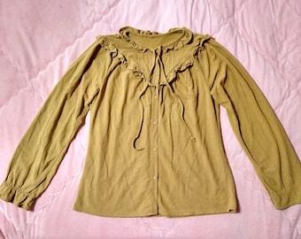 1970s Vintage Camel Brown Bohemian Peasant Blouse / 70s Vintage Bohemian Peasant Blouse Top