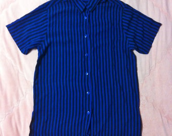 90s Vintage Blue and Black Striped Blouse, Vintage Blue and Black Striped Button Up Shirt Blouse, Striped Button Up Shirt, Striped Blouse