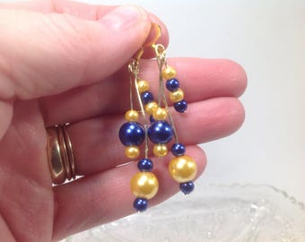 Blue & Gold dangling pearl earrings, WVU Jewelry, Mountaineer Jewelry, WV, gold and blue, West Virginia, mountaineers, wvu, wvu earrings,