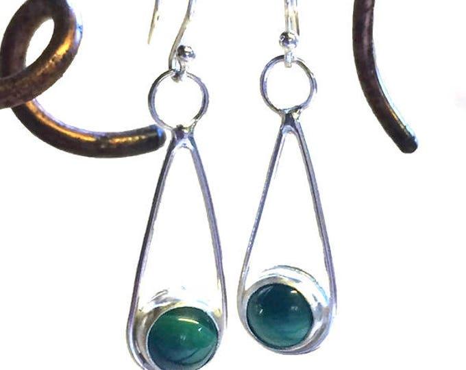 Malachite Loop Drop Earrings (Choice of Stones)