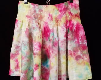 One-of-a-kind, hand dyed, upcycled linen skirt, size 4 petite
