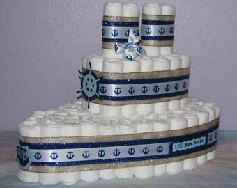 Nautical Diaper Cake, Boat Diaper Cake, Baby Boy Diaper Cake, Boat Shaped Diaper Cake, Baby Shower Centerpiece,Sailboat Diaper Cake