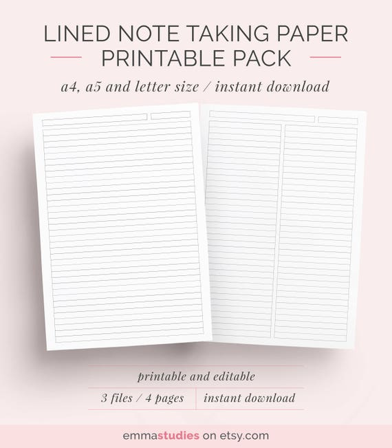 Lined Paper Student Note Taking Printable Set | A4, A5 And Letter | Instant  Download | Note Paper, Notebook, Discbound Notes  Download Lined Paper