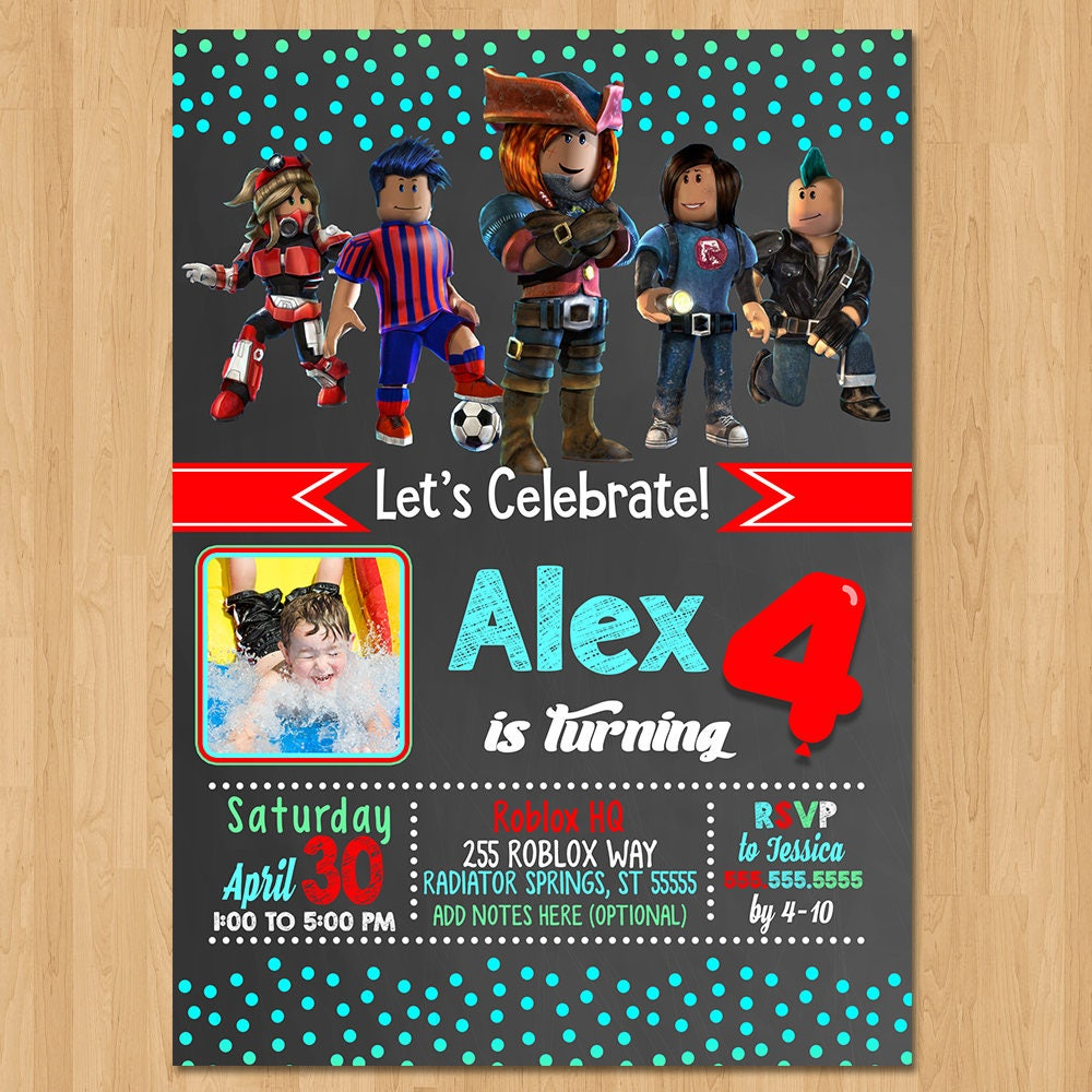 Roblox Invite - Chalkboard Teal & Red - Roblox Birthday Party Invite - Roblox Party Favors - Photo Invite - Roblox Birthday Invitation