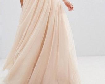 Circle Maxi Tulle Skirt/Wedding Skirt/Bridesmaid Skirt/Custom Color