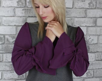 Flared bell sleeves with ties high neck bamboo body - Izzy