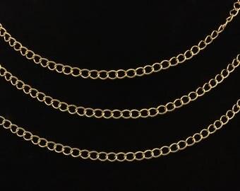 Real 16K Gold Plated Diamond Chain, Diamond Chain Bulk,  Diamond Choker Necklace, Gold Diamond Chain, Oval Extender Chain, 1 Foot, CH5-G-06C