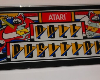 Vintage Atari Pole Position Arcade Video Game ORIGINAL Marquee Header GLASS Panel Sign