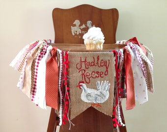 Chicken Theme High Chair Banner/Cake Smash Prop/Party Decor/Fabric Banner/Fall Orange Gold Red Ivory/Custom Personalized Burlap Flag