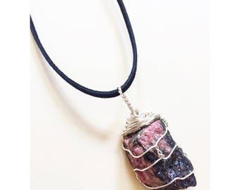 Handmade Rhodonite Crystal Necklace