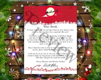 SANTA CLAUS LETTER,Christmas Letter from Santa Claus,Father Christmas personalized letter from santa,printable letter,digital download,Xmas