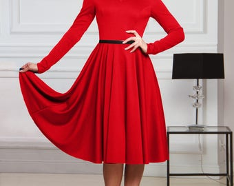 Casual Midi dress, red dress, jersey dress, long sleeve dress, Midi dress, elegant dress, casual autumn dress, winter dress, spring