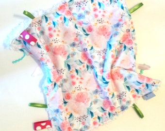 Floral Blanket, Lovey,READY TO SHIP, Girl Lovey, Baby Girl, Small blanket, Baby Lovey,Security Blanket, Minky Blanket,