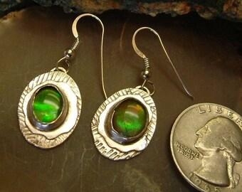 Ammolite Earrings Sterling Silver Utah Gem Fossil OOAK Statement Earrings Utah Gems Statement Jewelry Green Red Fire  190 G
