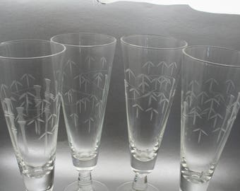 Vintage Crystal Champagne Glasses (Set of 4), Etched Leaves Glasses, Bamboo Glasses, Sasaki Bamboo Glassware, Pilsner Glass Set, Mid Century