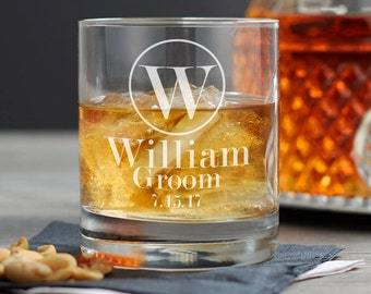 Groomsmen Whiskey Glass - Groomsman Gifts - Whiskey Gifts - Personalized Rocks Glass - Custom Engraved Rocks Glasses - Bourbon Glasses