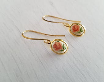 Vintage charms, small pink rose drop earrings, gold plated.